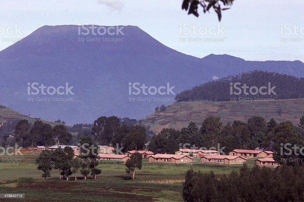 Nyiragongo Volcano Democratic Republic Congo Mudende Rwanda Central Africa stock photo