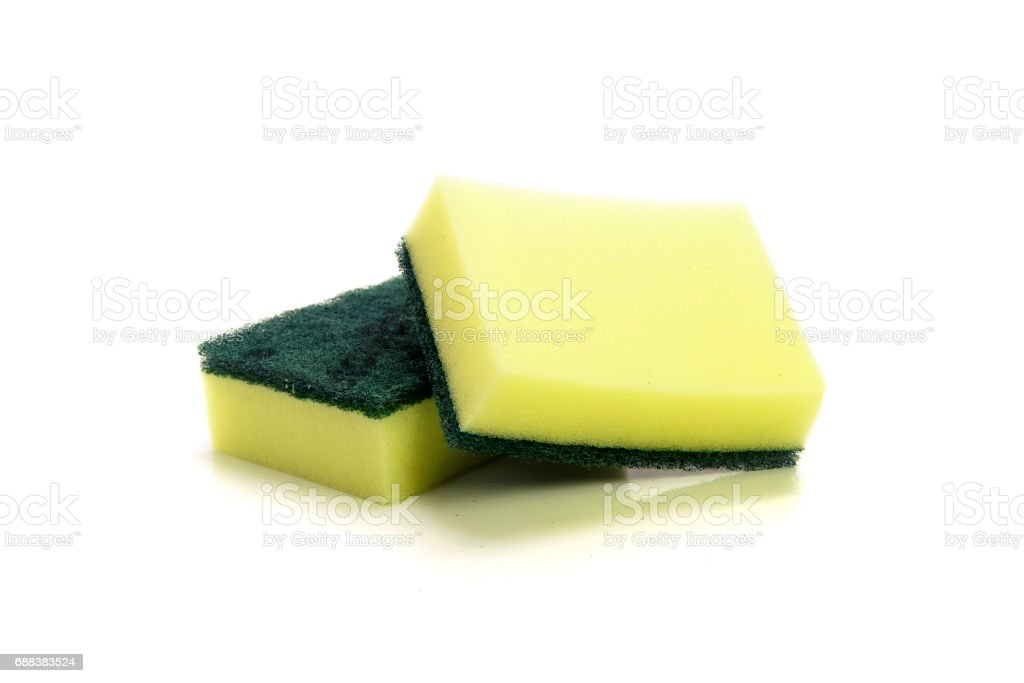 nylon fibers wool with sponge for cleaning ware stock photo