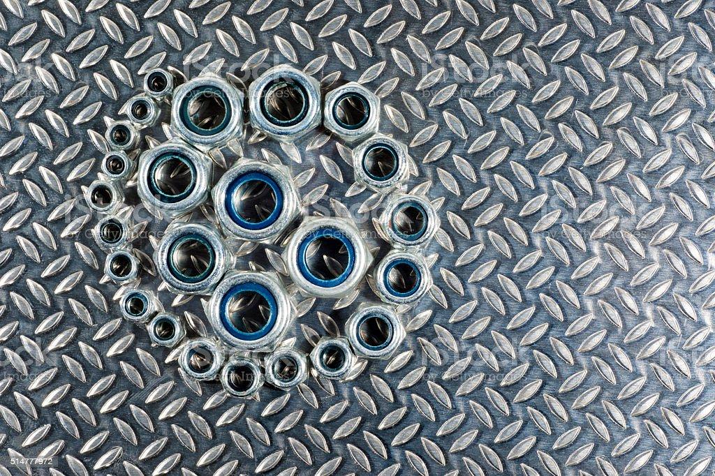 Nylon lock Metric Nuts stock photo