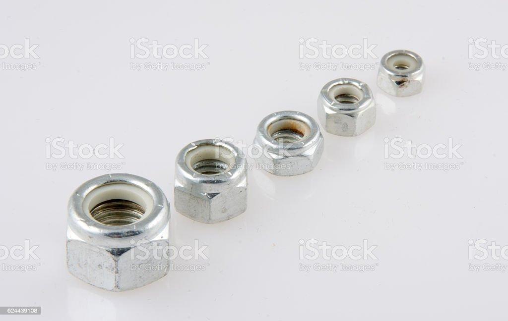 Nylon Locking Nuts stock photo