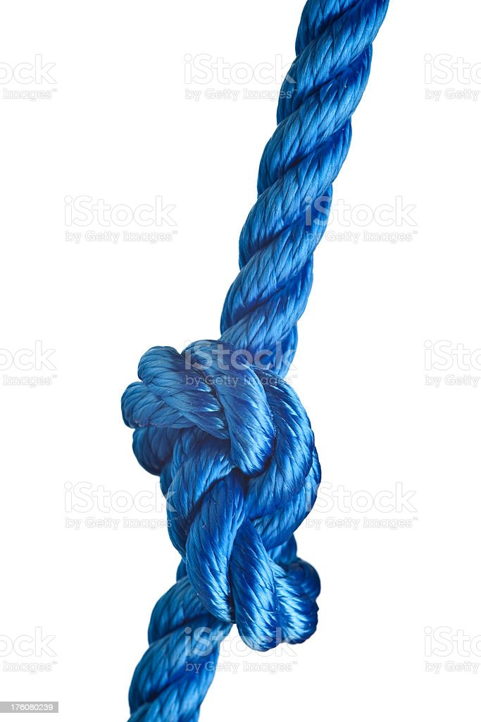 Nylon rope with a knot. royalty-free stock photo