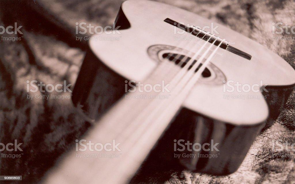Nylon String Classical Guitar Sepia Toned royalty-free stock photo