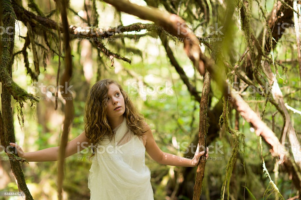 Nymph girl in mossy forest stock photo