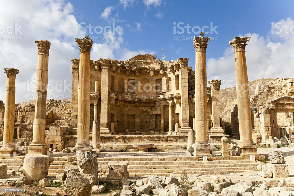 nymphaeum at jerash stock photo