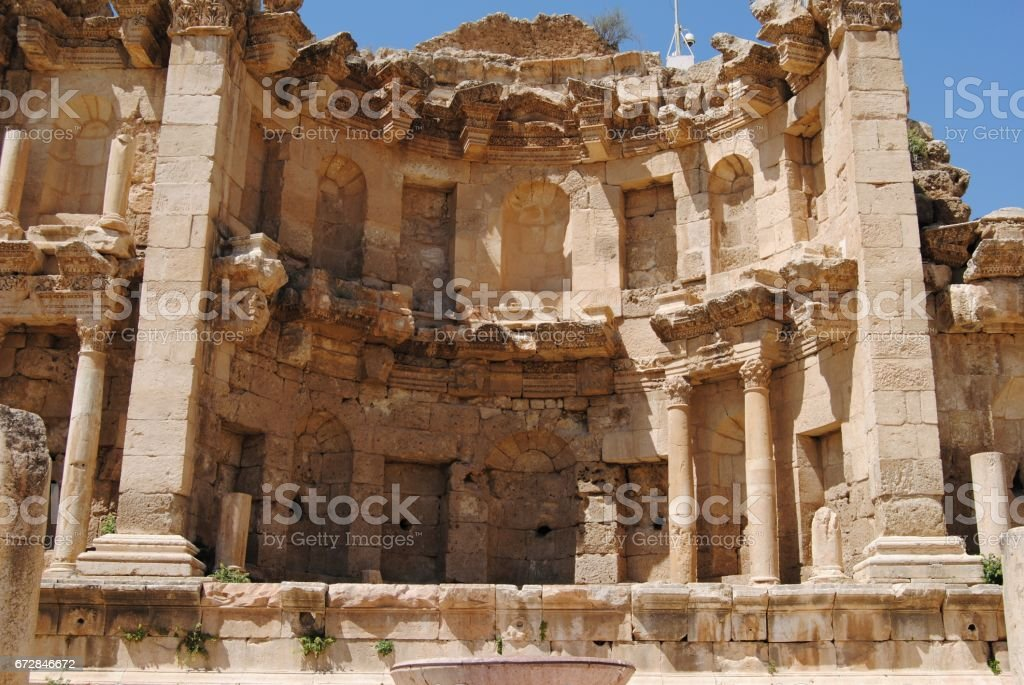 Nymphaeum in Jerash, Jordan stock photo