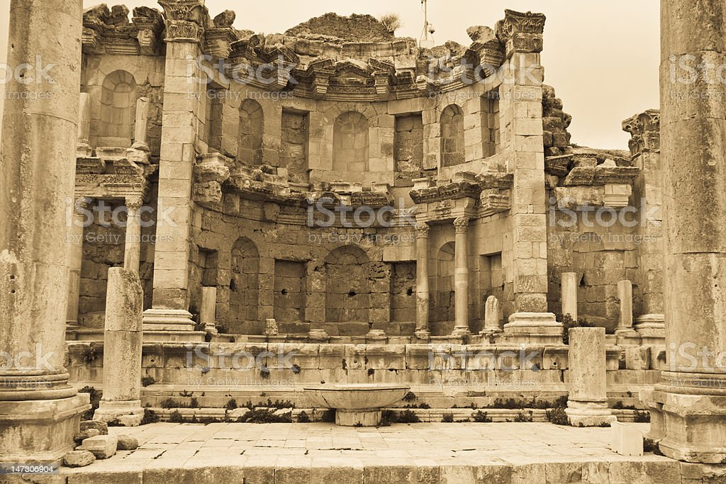 Nymphaeum of Jerash stock photo