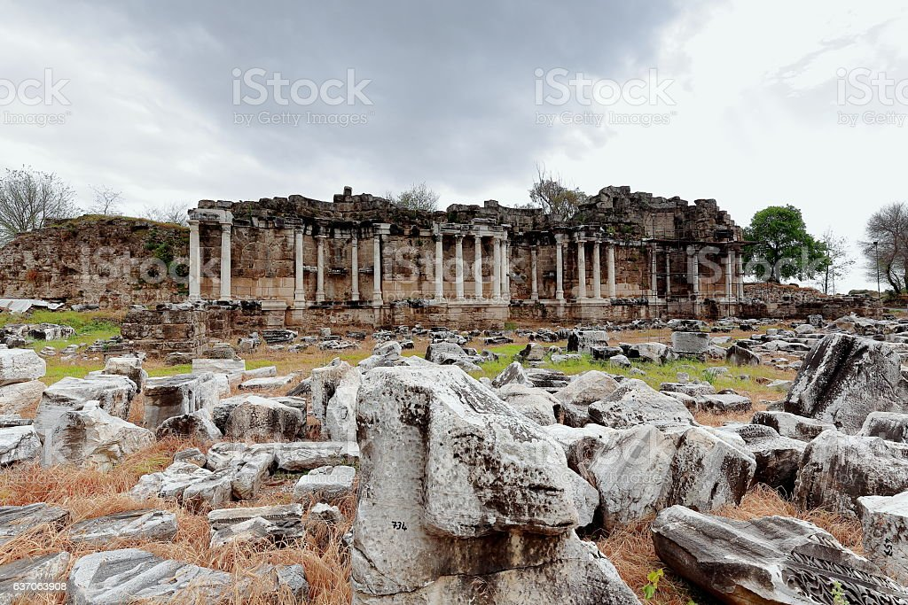 Nymphaeum-monumental fountain of the ancient city of Side. Pamphylia-Turkey. 0001 stock photo