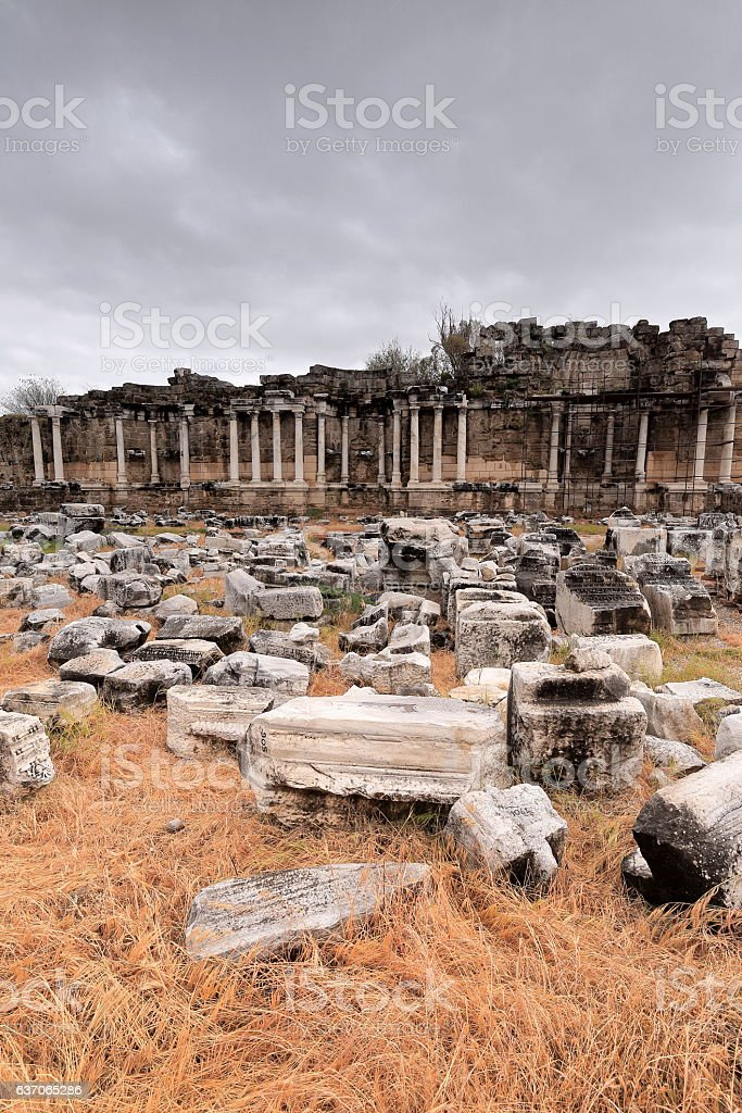 Nymphaeum-monumental fountain of the ancient city of Side. Pamphylia-Turkey. 0005 stock photo