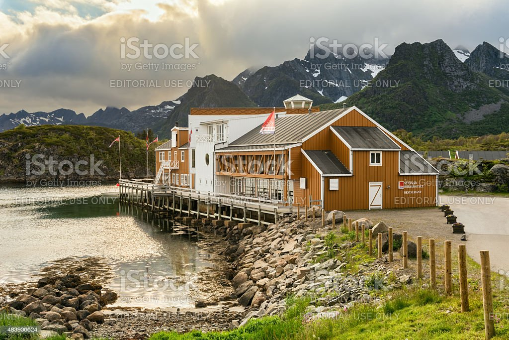 Nyvagar Rorbuhotell in Kabelvag located at the Lofoten Sea stock photo
