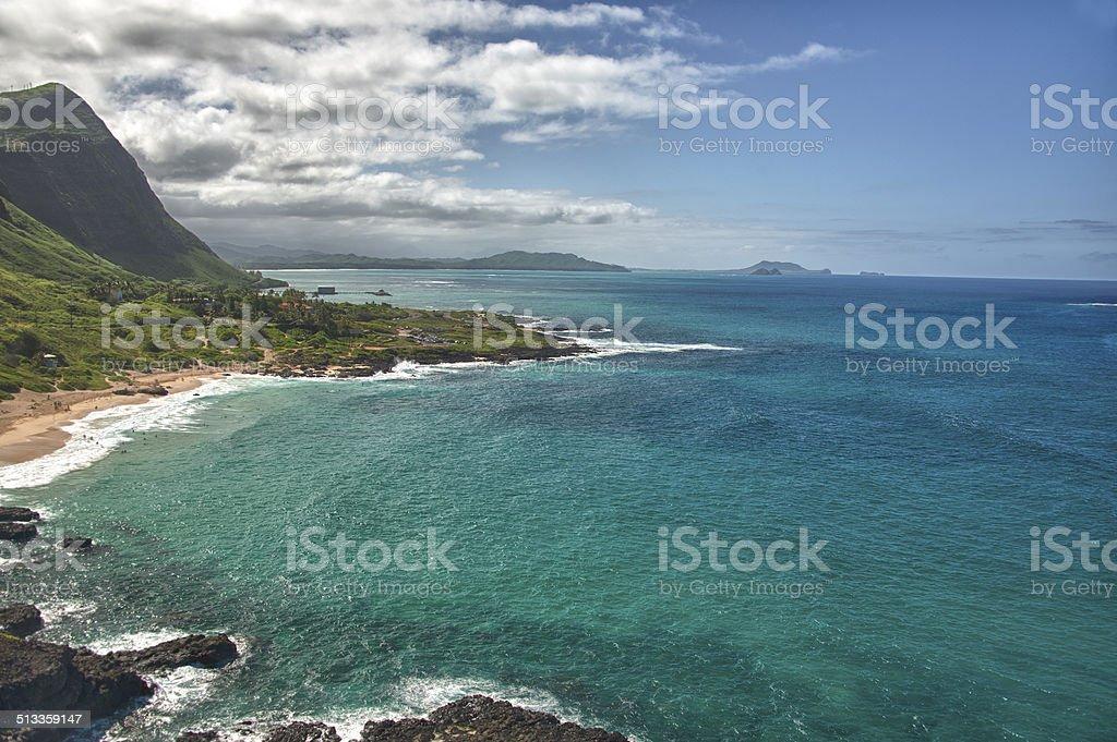 oahu east coast landscape panorama stock photo