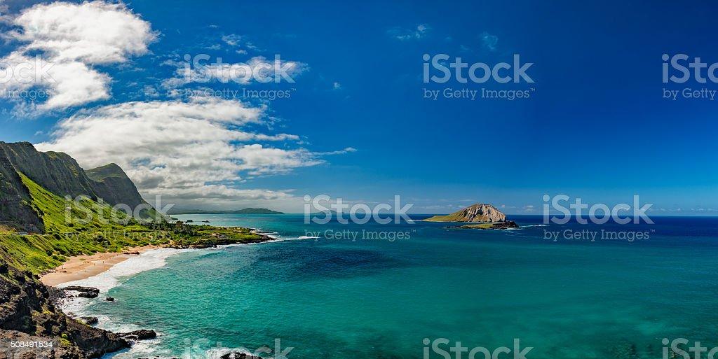 oahu east coast view landscape stock photo