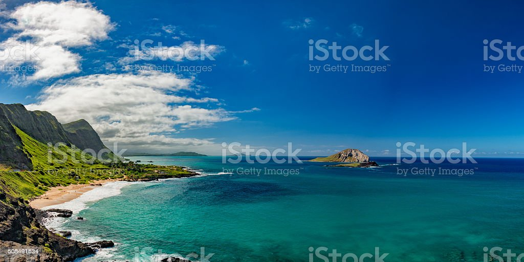 oahu east coast view landscape stock photo