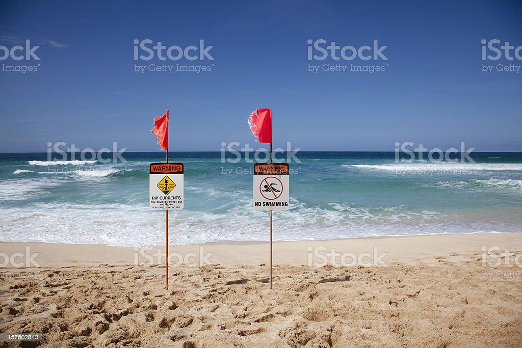 oahu north shore warning signs stock photo