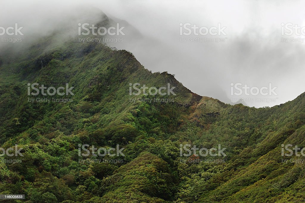 Oahu volcanic mountains royalty-free stock photo