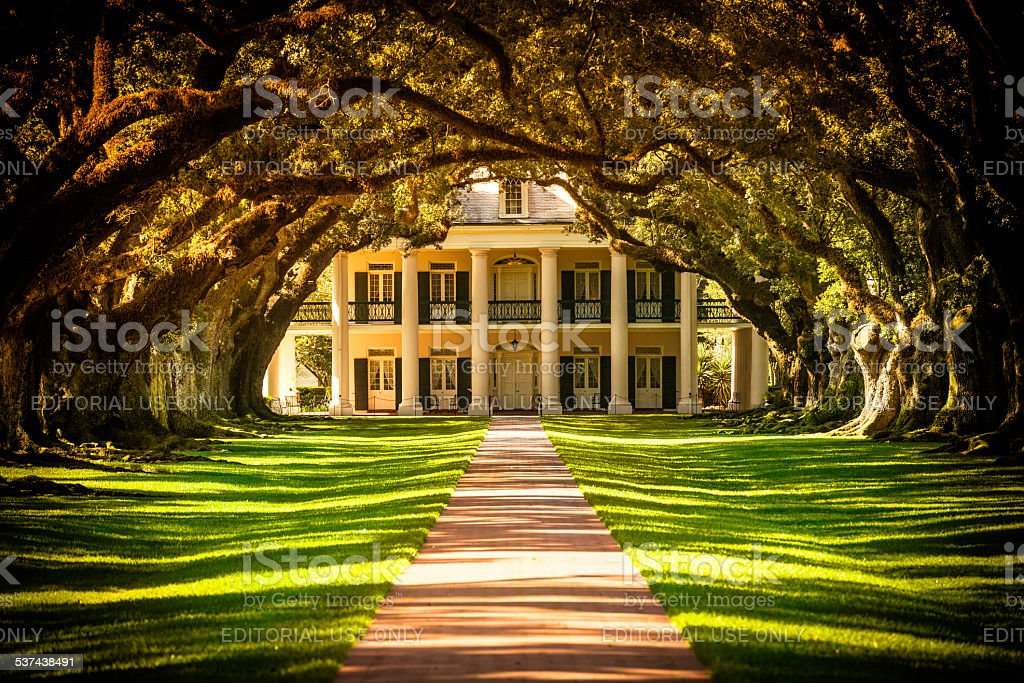 Oak Alley Plantation House in Louisiana, USA stock photo