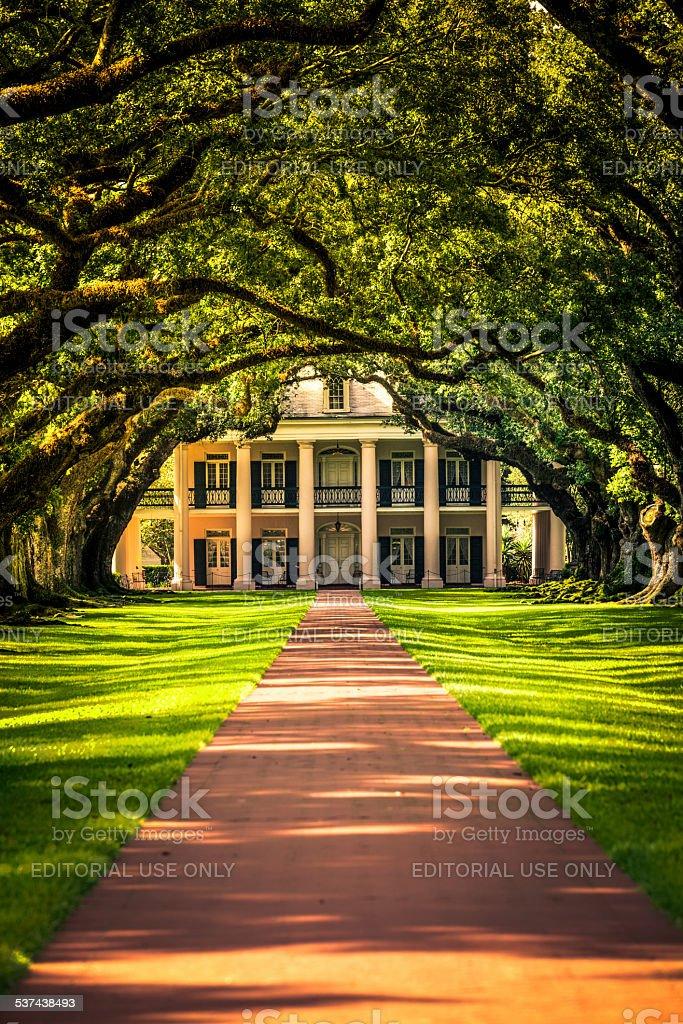 Oak Alley Plantation House in Louisiana, USA stock photo