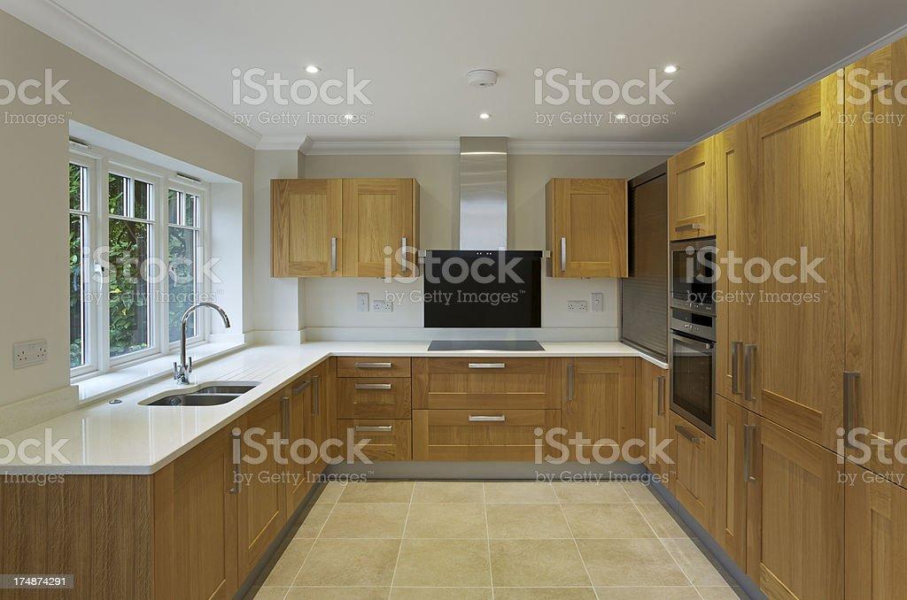 oak apartment kitchen royalty-free stock photo
