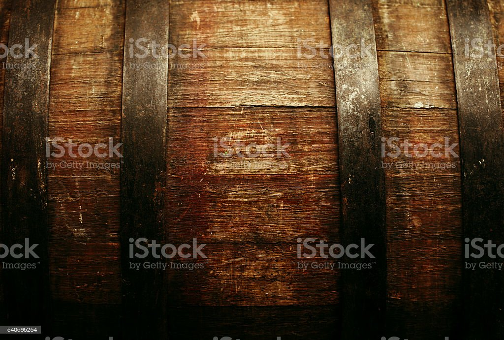 Oak barrel closeup stock photo