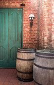 oak barrel with brickwall background