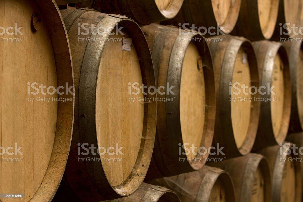 Oak barrels aging wine stock photo