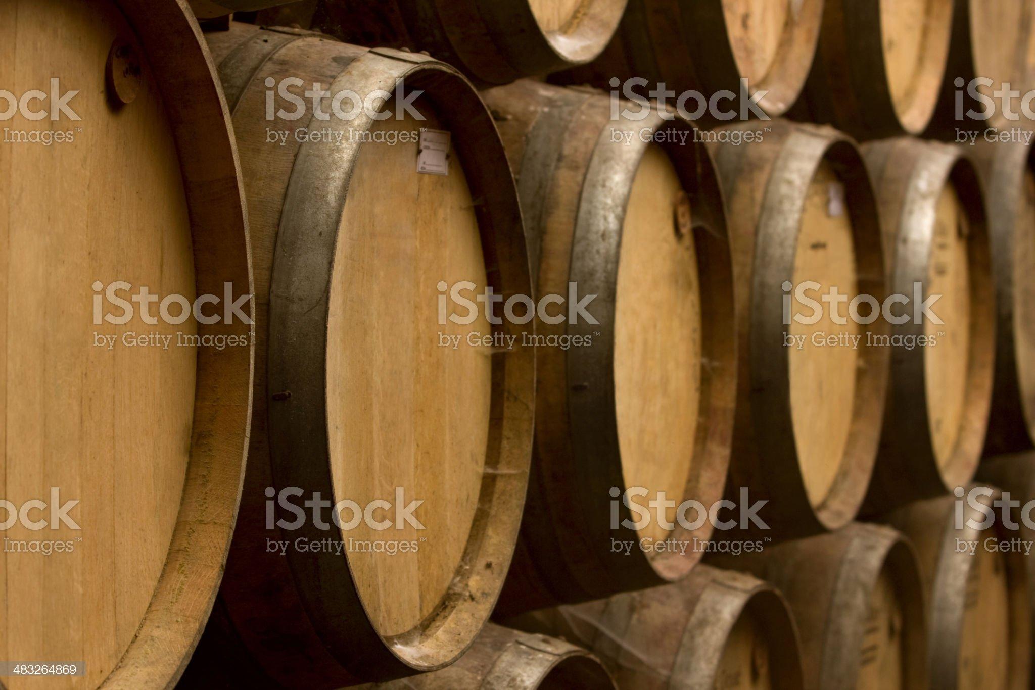 Oak barrels aging wine royalty-free stock photo