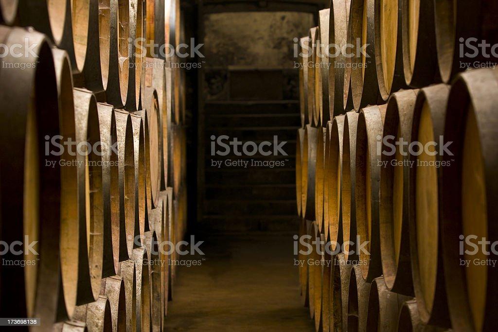 Oak barrels at the wine cellar stock photo