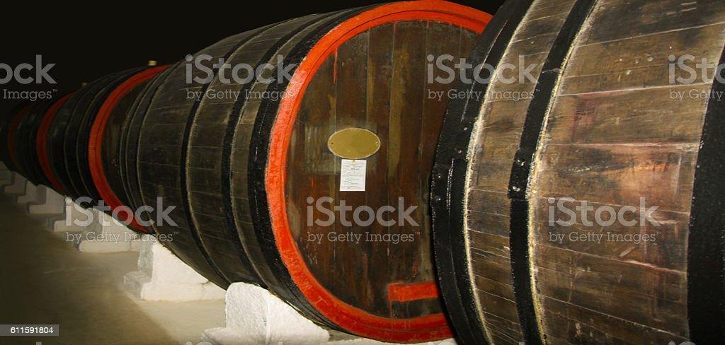 Oak barrels for cognac. stock photo