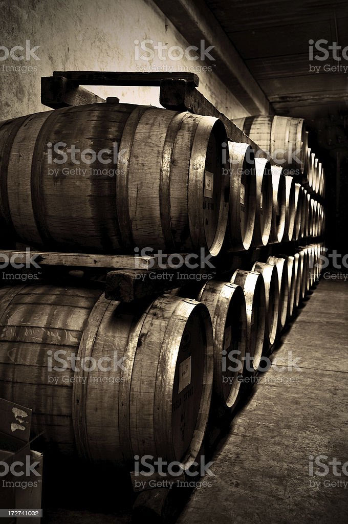 oak barrels stock photo