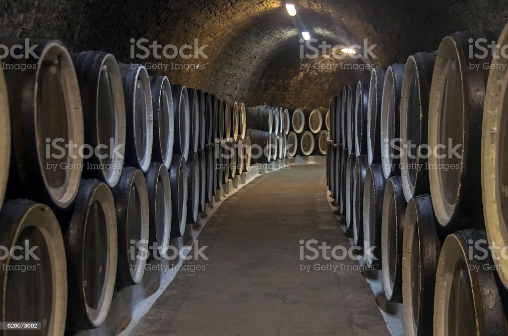Oak barrels with wine in the winery sellars. Crimea. stock photo