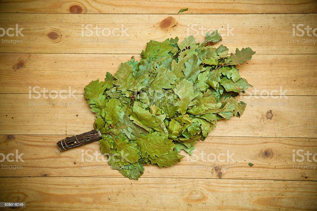 Oak broom for baths and saunas stock photo