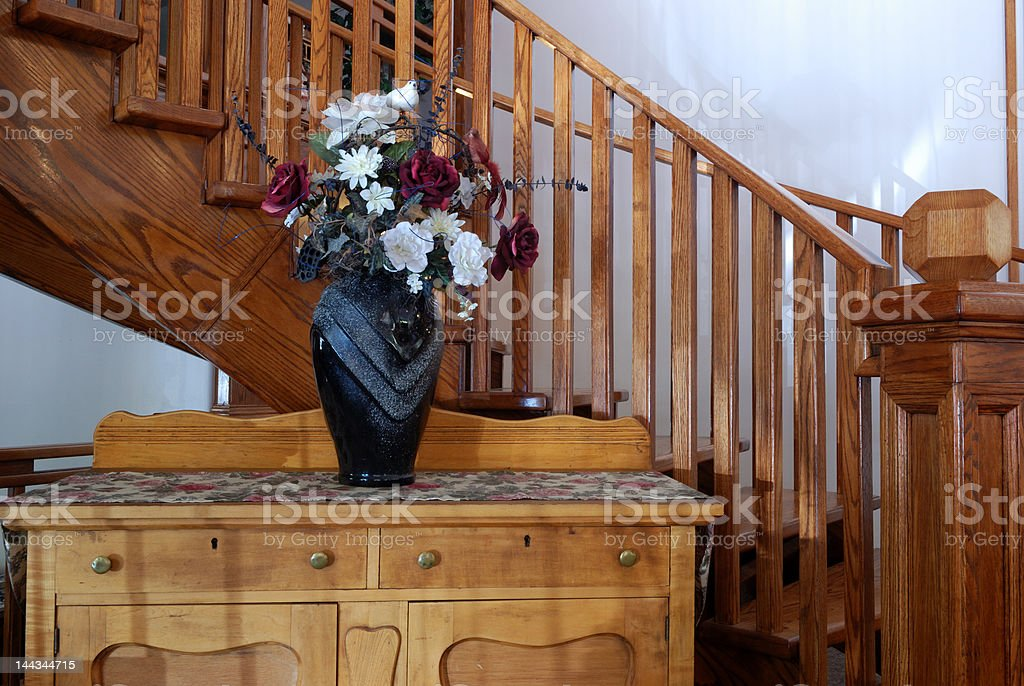 oak chest and staircase stock photo