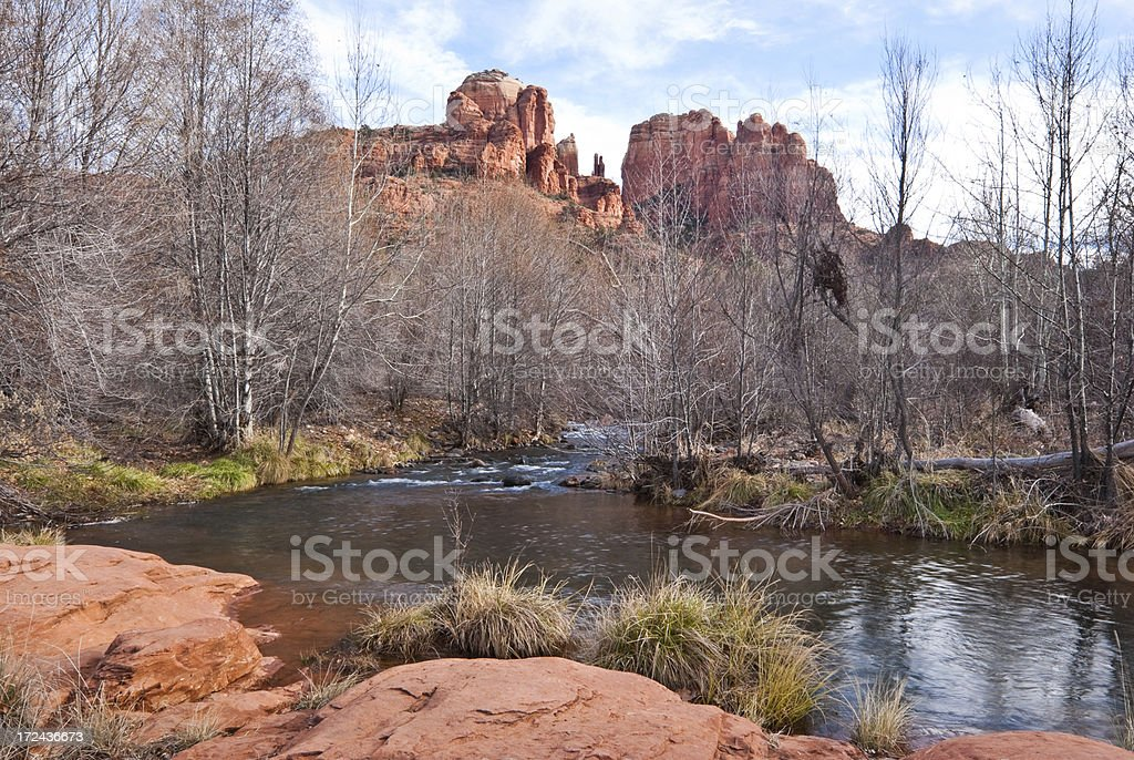 Oak Creek and Cathedral Rocks stock photo