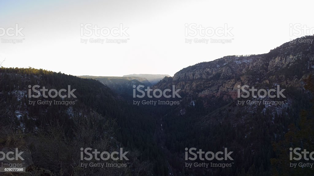 Oak Creek Canyon at Sunset Horizontal stock photo