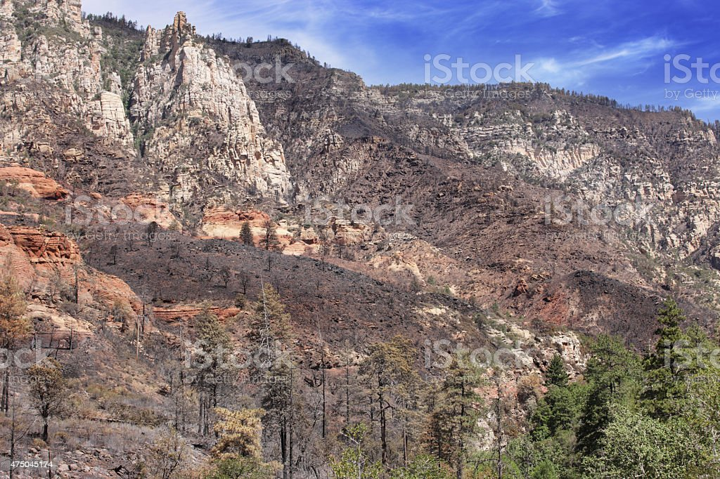Oak Creek Canyon Sedona Wildfire stock photo