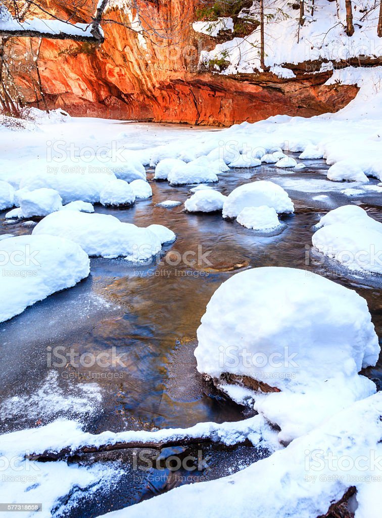 Oak Creek in winter stock photo