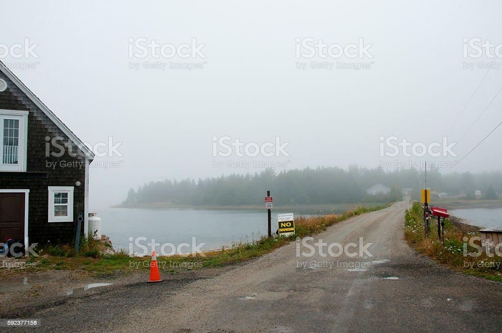 Oak Island in the Fog - Nova Scotia - Canada stock photo