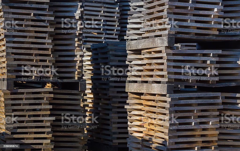 Oak planks for wine barrels stacked for elution of tannins stock photo