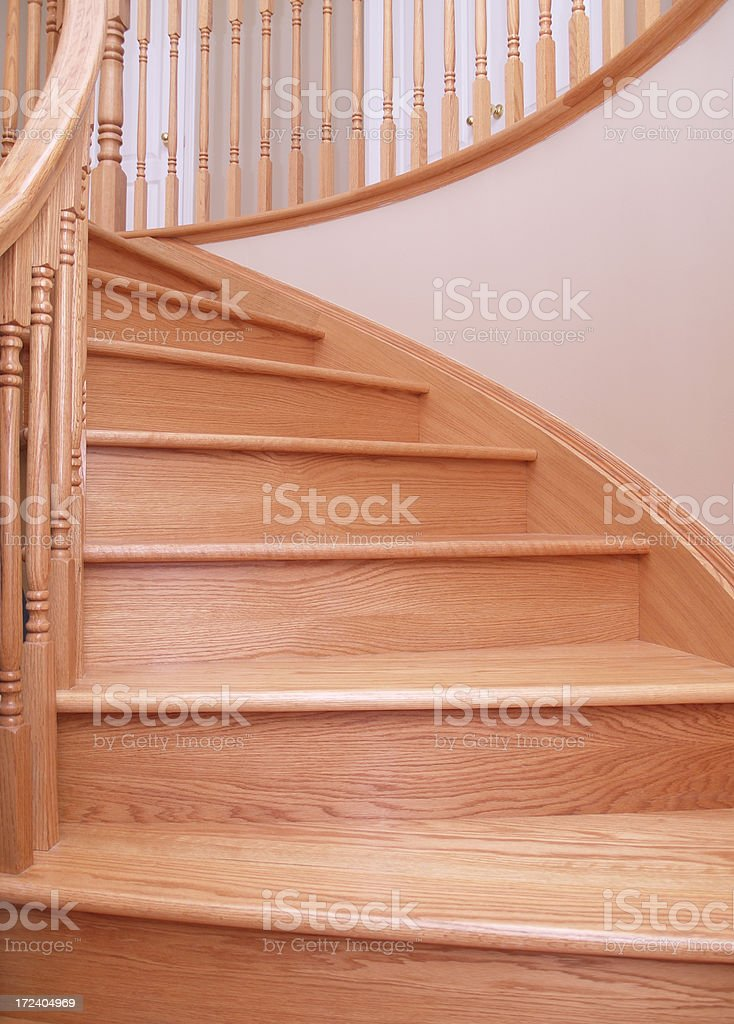 oak stairs - part of circular oak staircase royalty-free stock photo