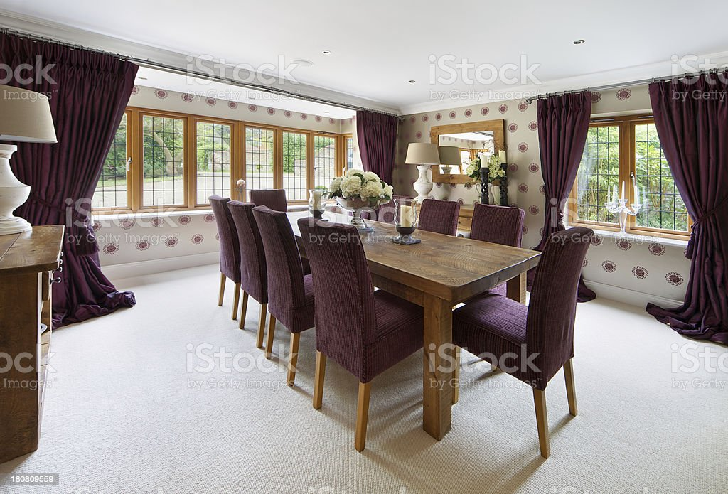 oak table dining room stock photo