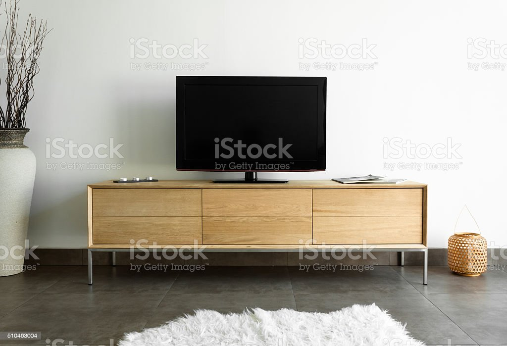 Oak TV stand stock photo
