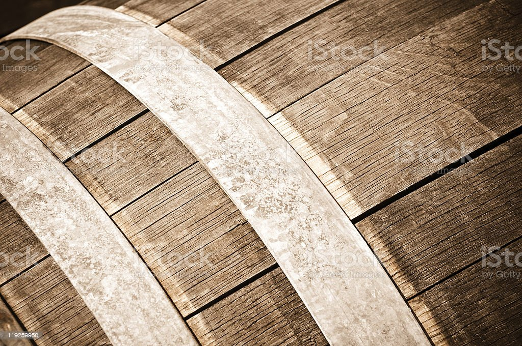 Oak Wine Barrel Close Up Detail stock photo