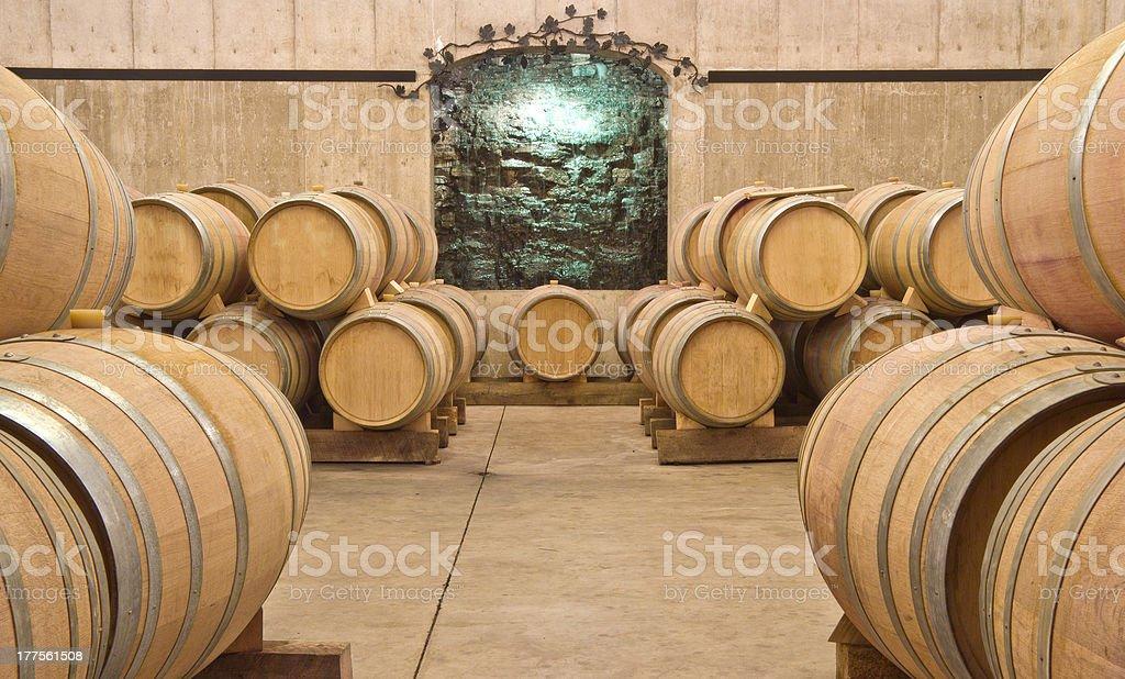 Oak Wine Barrels in a Cellar royalty-free stock photo