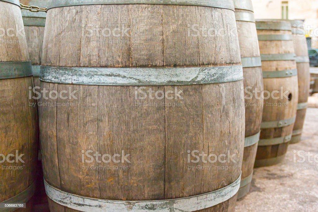oak wooden Barrel stock photo