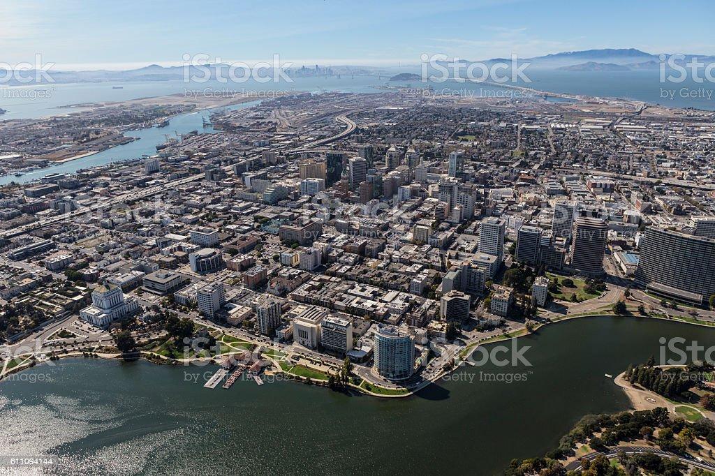 Oakland Aerial View Towards San Francisco stock photo