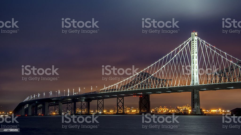 Oakland Bay Bridge at Sunset stock photo