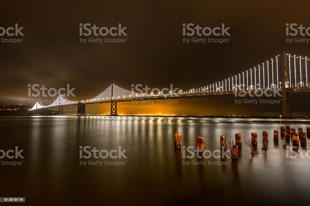 Oakland bay bridge San Francisco ca at night stock photo