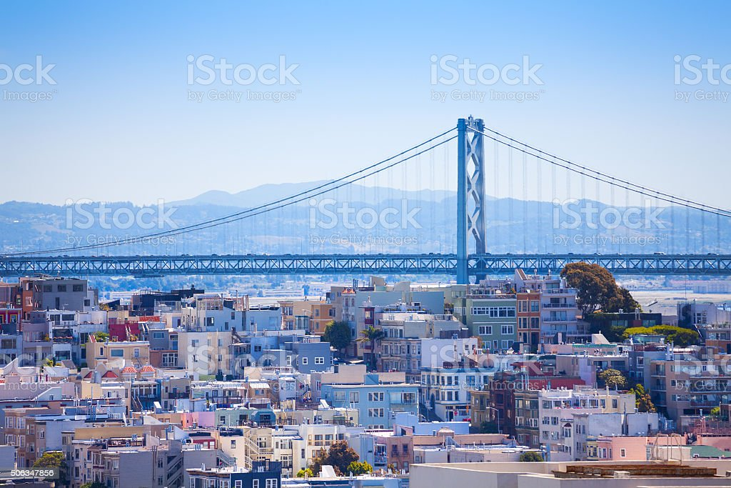 Oakland Bay Bridge view over the residential area stock photo