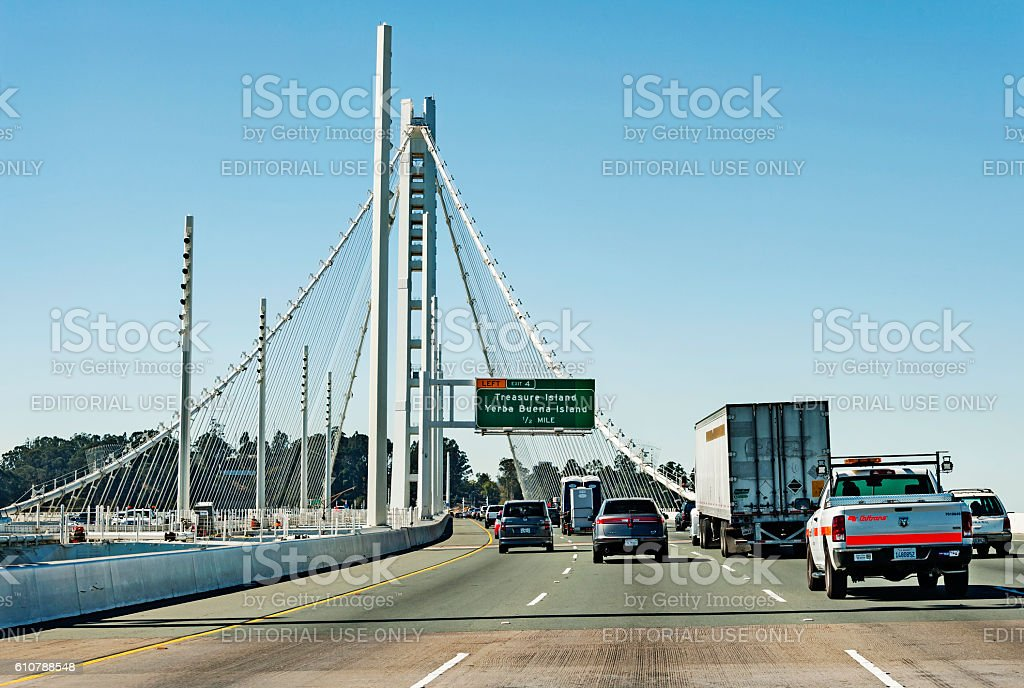 Oakland Bay Bridge with traffic while crossing stock photo