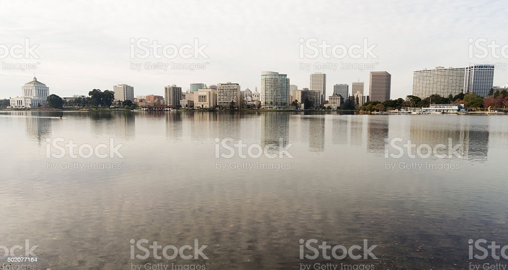Oakland California Afternoon Downtown City Skyline Lake Merritt stock photo