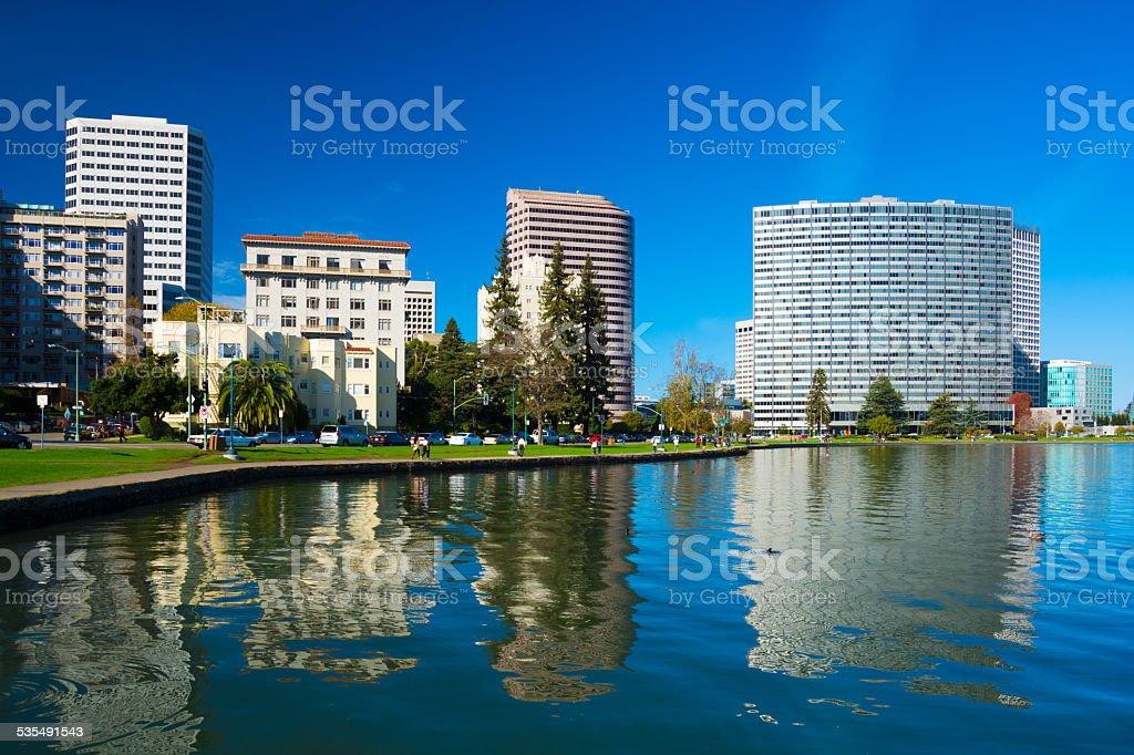 Oakland downtown buildings and Lake Merritt stock photo